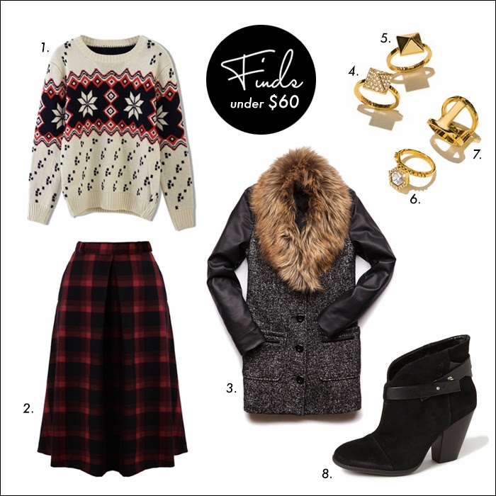 plaid midi skirt, midi skirt, full skirt, faux fur coat, tweed coat, outerwear, sales, booties, fair isle sweater, rings, stackable rings, nordstrom, vince camuto, forever 21, budget friendly look, cute short booties