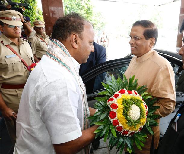 Sri Lankan President Maithripala Sirisena arrives in Tirumala