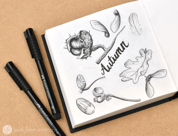 Things to Love About Autumn, sketchbook drawing inspired by Autumn by Hazel Fisher Creations