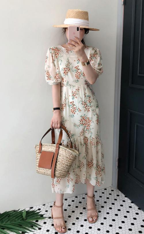 Floral Puff Sleeve Dress
