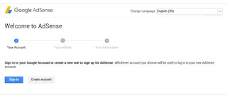 adsense sign up page