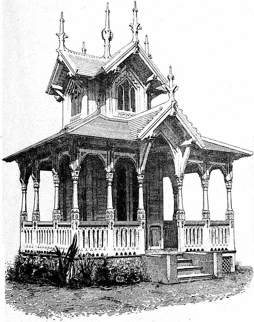 an illustration of a pavilion at the International Colonial and Export Exhibition in Amsterdam 1883