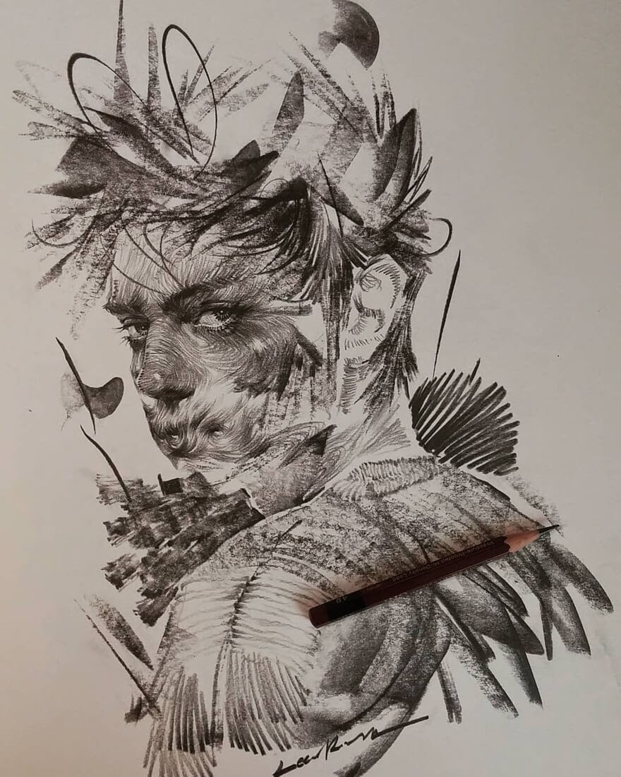 02-Lee-K-Lines-and-Swirls-Pencil-and-Charcoal-Portraits-www-designstack-co