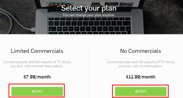 Hulu Plus No commercials Plan