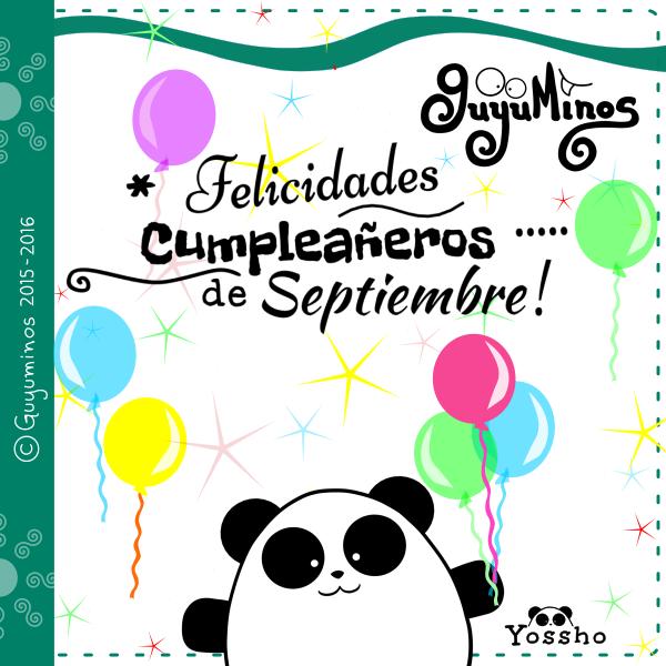 Felicidades Cumpleañeros de Septiembre! © Guyuminos 2015, panda, fiesta de cumpleaños
