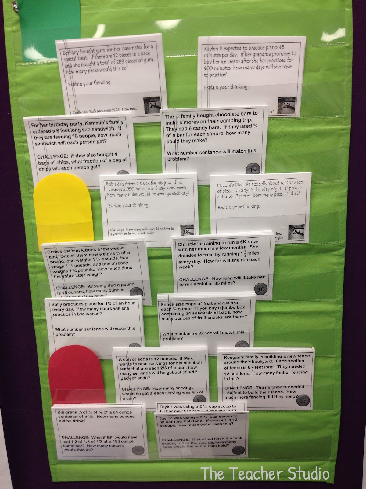 using word problems in pocket charts