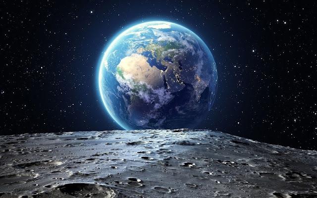 pianeta, terra, spazio, luna, paesaggio lunare,