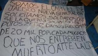 Amanece otra narco-manta del CJNG en Coatzacoalcos Veracruz