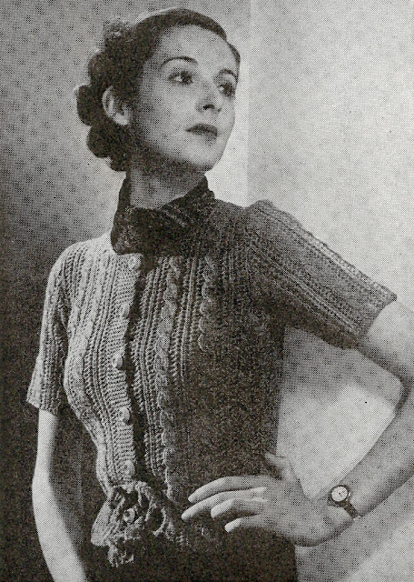 The Vintage Pattern Files: Free 1930s Knitting Pattern - Cable Totem Cardigan