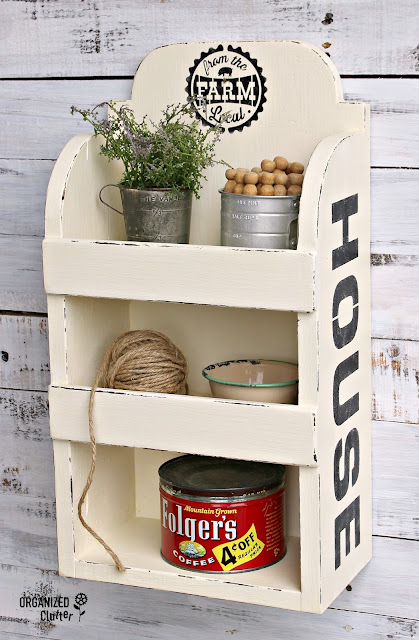 Adding Farmhouse Style to a Garage Sale Shelf www.organizedclutter.net