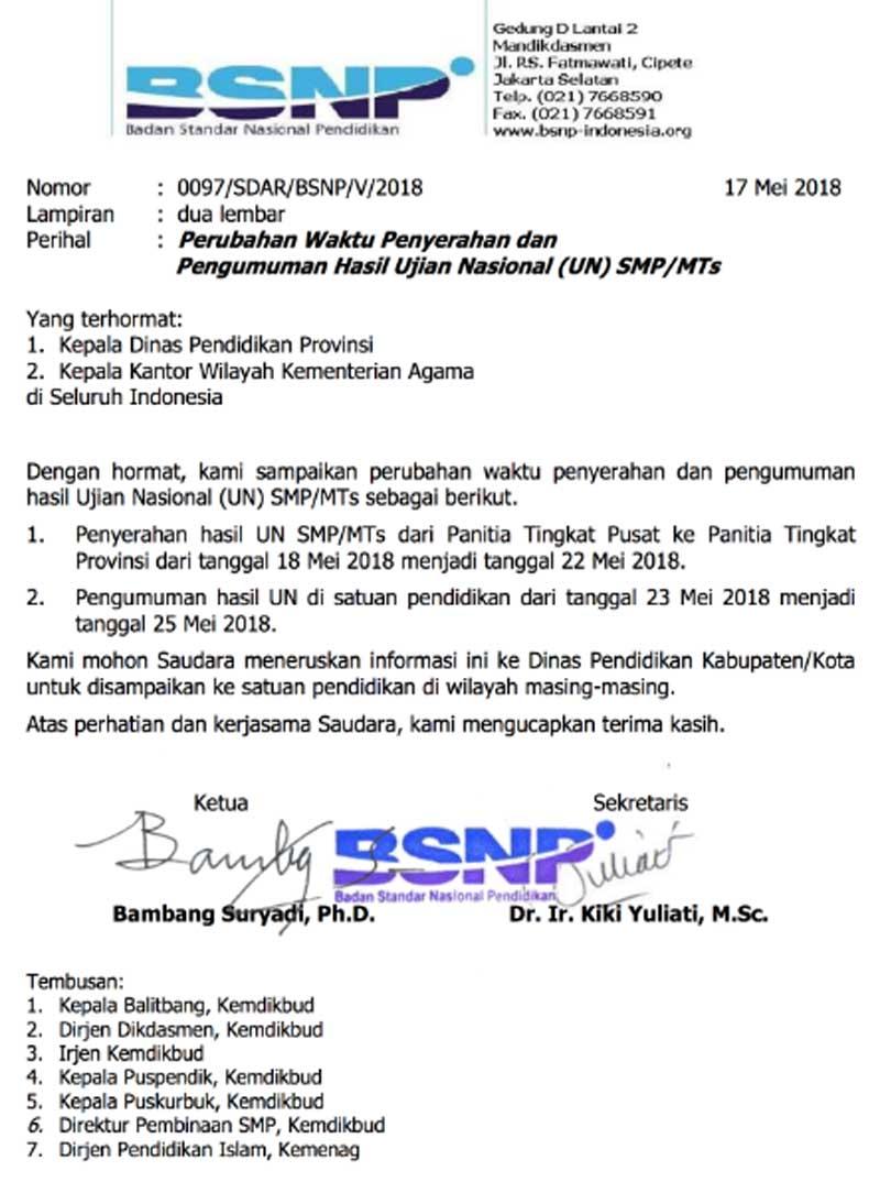 Hasil UNBK SMP 2018