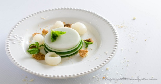 Pandanus And Coconut Jelly With Coconut Crumbs And Longan Recipe