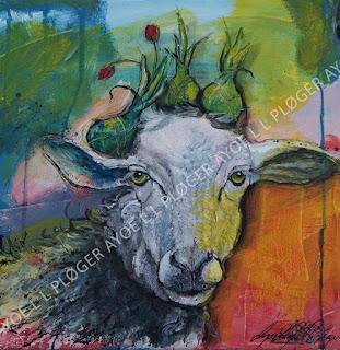 Får,sheep,maleri,art,vadehav,forår,løg,tulipaner,glade farver,acryl