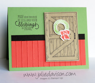 Stampin' Up! Barn Door Card Kit for January 2018 Stamp of the Month Club ~ 2018 Occasions Catalog ~ www.juliedavison.com/clubs