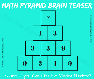 It is Maths Puzzle with Pyramid Picture in which you have to find the missing number
