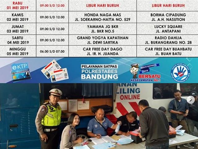 Jadwal SIM Keliling Polrestabes Bandung Bulan Mei 2019