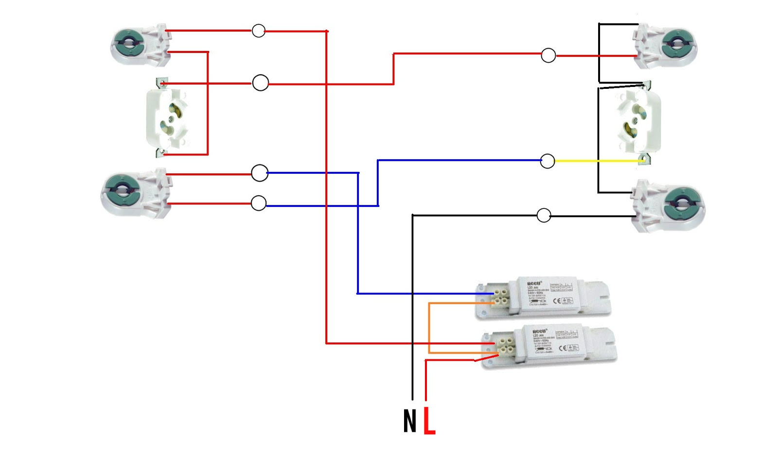 Fluorescent Ballast Wiring Diagram Ceiling Fan 3 Way Switch The World Through Electricity Double Light