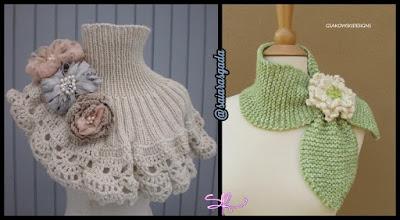 cachecol feminino gola feminina mulher inverno lindo quente fofo elegante trico tricot croche lã barbante flor laço meigo menina