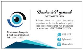 tarjeta personal para optometrista