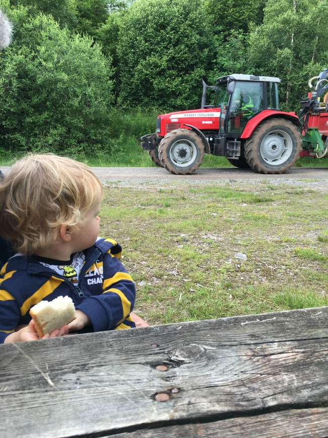Garwnant-Visitor-Centre-A-Toddler-Explores-toddler-at-picnic-table-with-tractor-going-past
