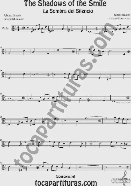 The Shadows of Your Smile Partitura de Viola Sheet Music for Viola Music Score La Sombra de tu Sonrisa
