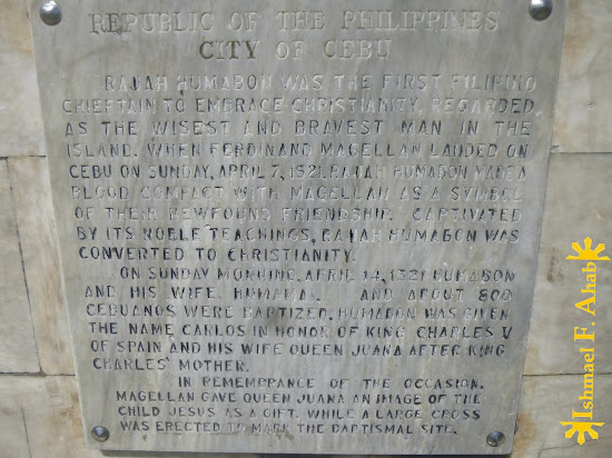 Inscription in the markerw for Rajah Humabon in Cebu City