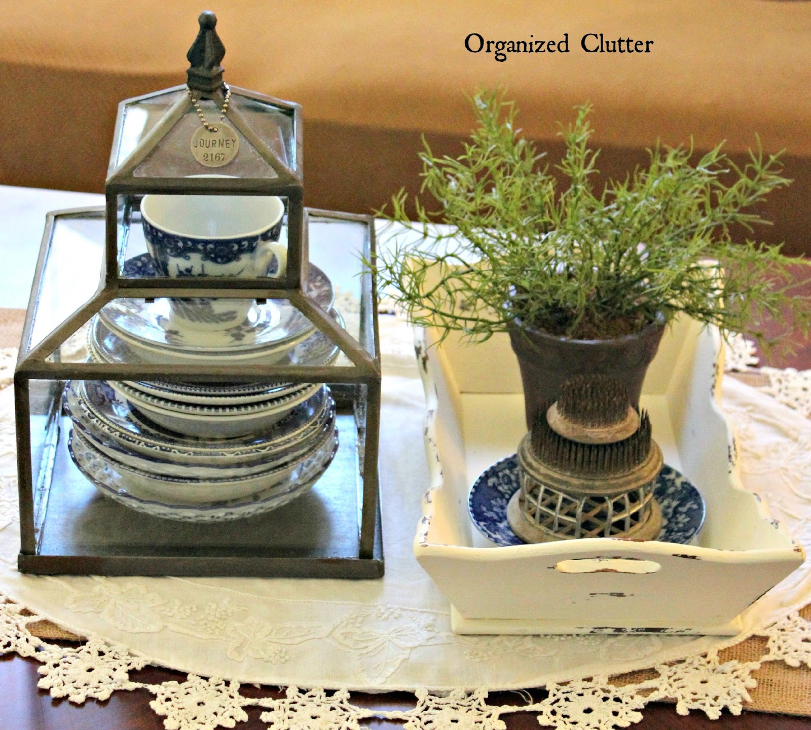 Blue & White China In A Leaded Glass Terrarium www.organizedclutter.net