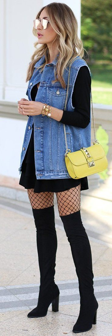 Black skater dress, denim vest, fishnets and over the knee boots