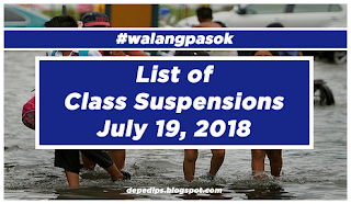 #WalangPasok: List of Class Suspensions for July 19, 2018
