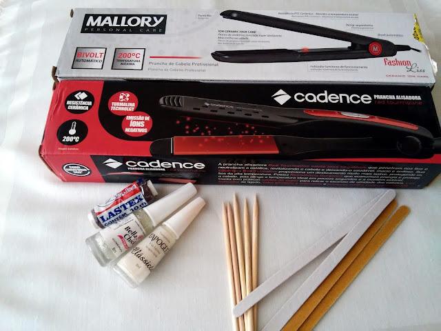 Pranchas Cadence e Mallory, esmaltes bella  chic, lixa, palito e lastex
