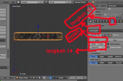 langkah 13 blender 3D membuat teks batik