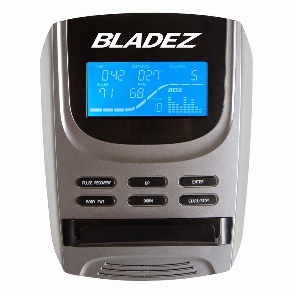 Bladez Fitness U400 console, LCD blue backlit display shows workout stats including time, distance, speed, calories burned, heart-rate