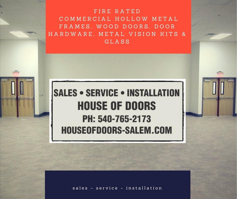 Fire rated wood doors, hollow metal frames, metal vision kits with ...