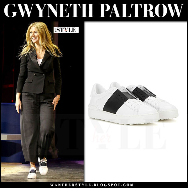 Gwyneth Paltrow in white and black leather Valentino Open sneakers what she wore