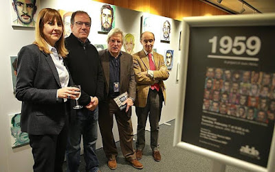 Cuban artist Juan Abreu (second from far left) with European Parliament members Teresa Giménez Barbat, Javier Nart and Fernando Maura during the opening of the exhibit, 1959, which features more than 100 portraits of those executed by the Castro regime.