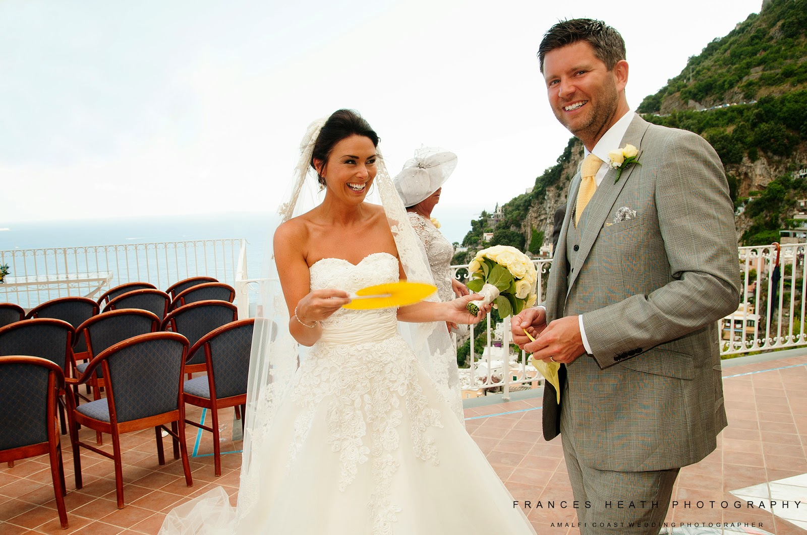 Bride and groom at the Positano town hall