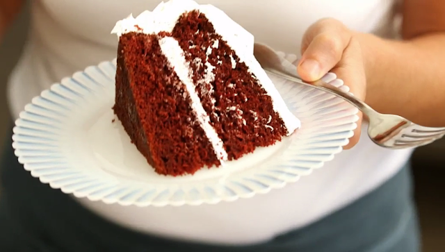 Red velvet cake with icing