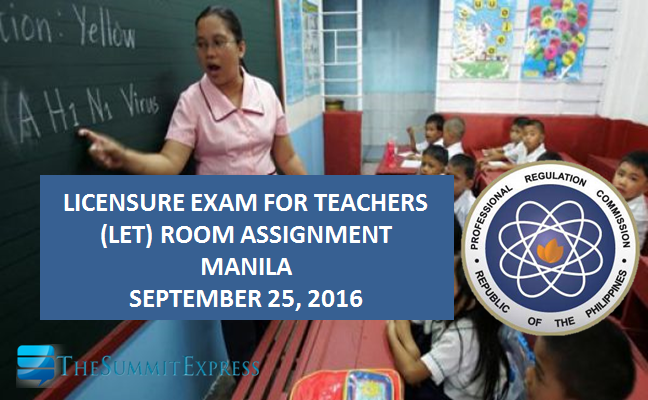 List of Room Assignment September 2016 LET Metro Manila (NCR)