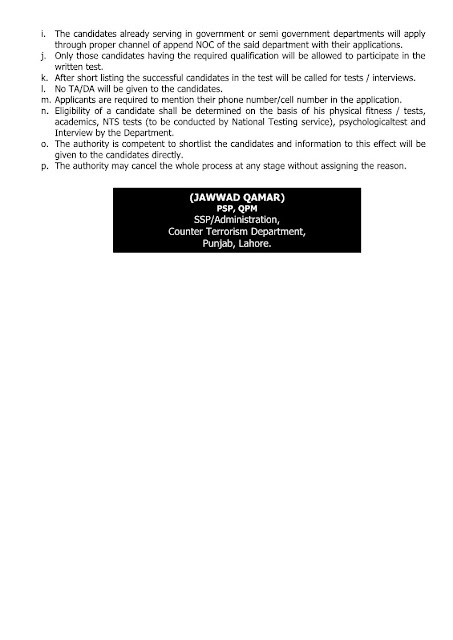 Counter Terrorism Deptt. CTD. Punjab Jobs Before 15.03.2017