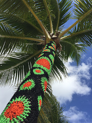 Carol Hummel - Yarn Bombed Palm Tree at Phish Riviera Maya 2017
