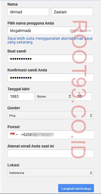 contoh mengisi form registrasi Google