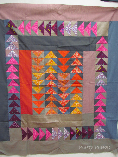 flying geese pieced quilt work in progress  - marty mason