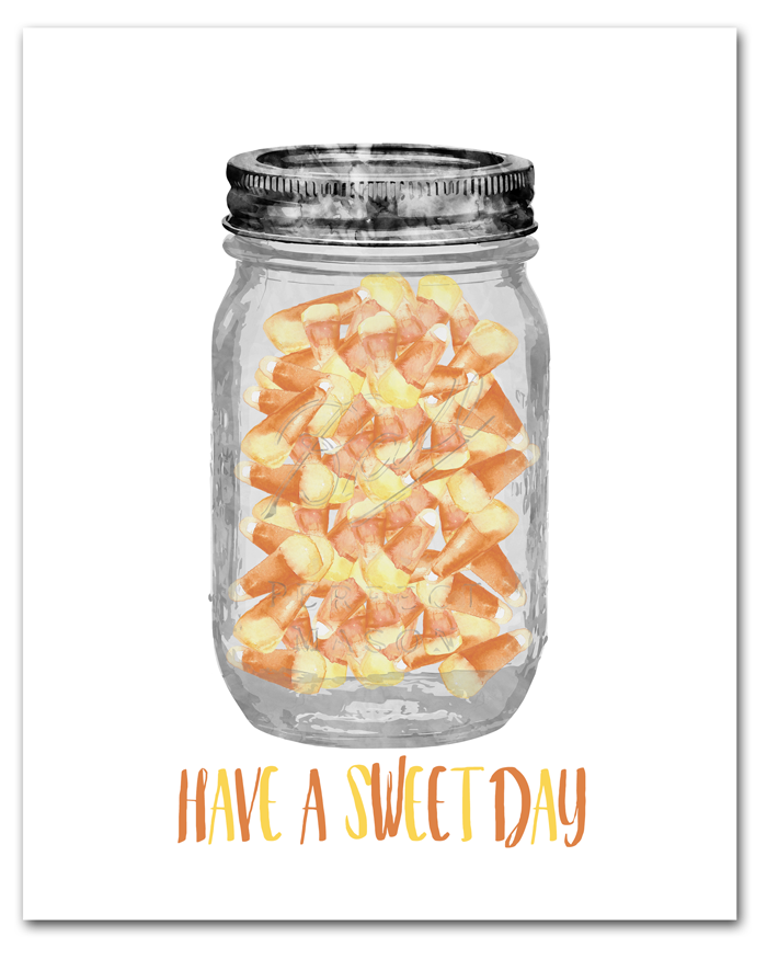 Free Candy Corn Halloween Printable | 8x10 Mason Jar and Candy Corn Print | Instant Download