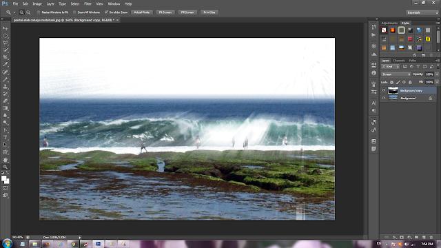Hasil edit memberi efek cahaya pada photoshop