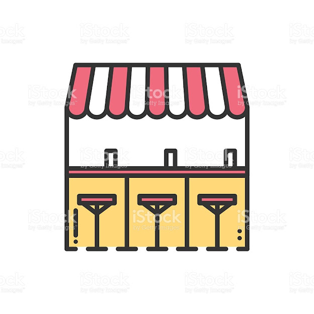 Bar Counter Line Icon Street Food Retail Coffee House Bar Royalty