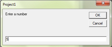 This dialog box takes an input