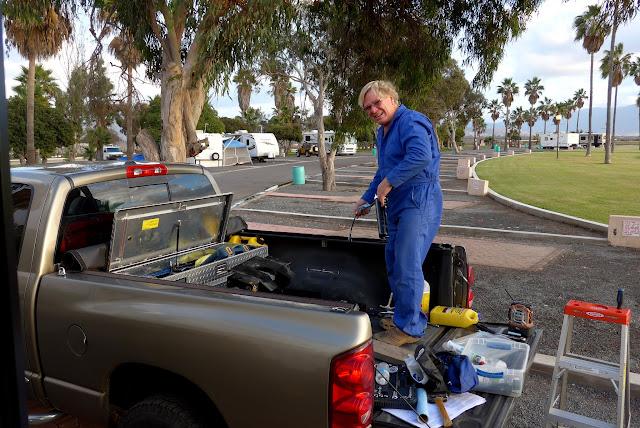 Anders adjusting the Hijacker Autoslide Hitch at Esterio Beach, Baja, Mexico.