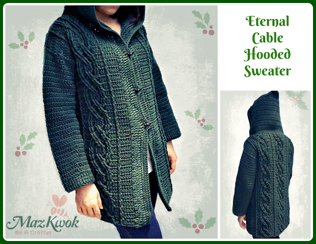 crochet cable hooded sweater