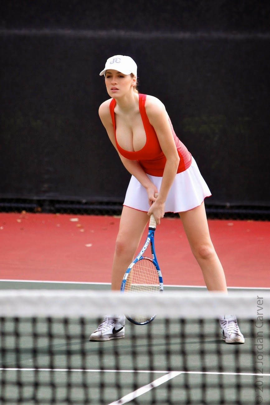 Jordan Carver Playing Hot Tennis Big Boobs Cleavage Show -6035