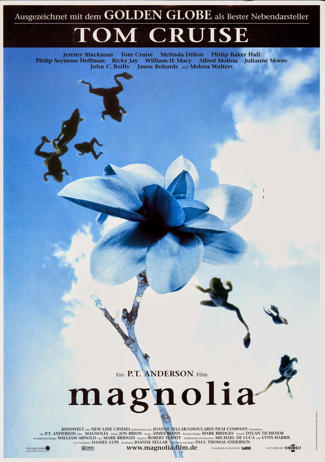 magnolia dir paul thomas anderson discreet charms magnolia german poster by mm kinowelt and new line cinema via carteles peliculas click the poster for a larger image